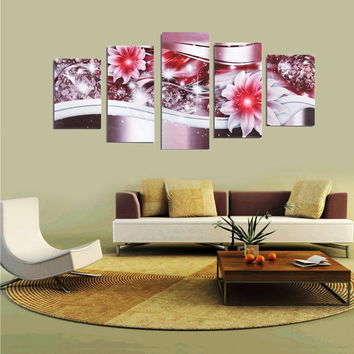 5PCS Frameless Canvas Painting Picture Diamond Flowers Art Painting Home Wall Decor
