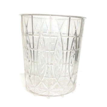 Vintage Lucite Acrylic Waste Basket Mid Century Home Decor Clear Plastic Trash Can Vintage Bathroom Hollywood Regency Molded Plastic