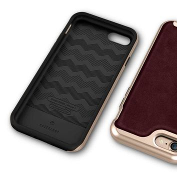 Caseology Envoy Series Iphone 7 / 8 Cover Case With Leather Slim Protective For Apple Iphone 7 (2016) / Iphone 8 (2017)   Leather Cherry Oak