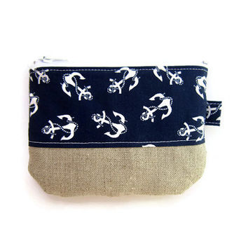 Mini zipper pouch/ small credit card holder/ gift card/ coin purse / mini wallet/ zipper organizer/ blue anchor pattern & linen