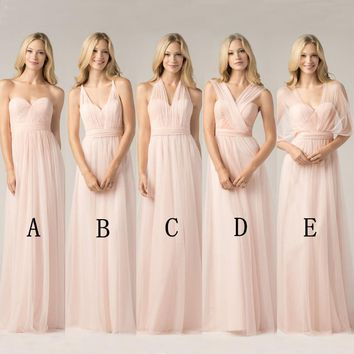 2017 Convertible Bridesmaid Dresses Blush Pink Custom Made Fashion A Line Formal Plus Size Junior Bridesmaids Gowns Floor Length