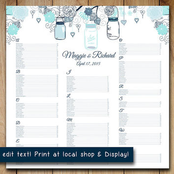 "Rustic Wedding Seating Chart Template | Mason Jar Blue Aqua Mint Rustic  Word Template | Editable Text | 22"" x 22"" Wedding Download"