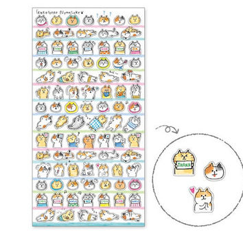 S090 Gorogoro Nyansuke Sticker Sheet D, Tiny stickers, mini stickers, cat stickers, cartoon stickers, cat stickers sheet, journal stickers