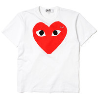 Cotton Jersey Print Red Heart Red Emblem Tee White