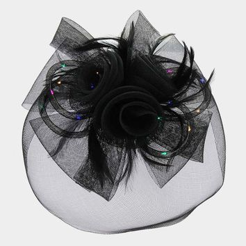 Floral Feather & Mesh Bow Light Up Fascinator