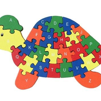 Funny Digital & Letter Wooden Blocks Puzzles Educational Puzzle Tortoise
