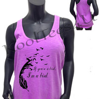 """Racer Back """"If You're a Bird I'm a Bird"""" Tank Top in Purple, Yellow, Orange and White"""