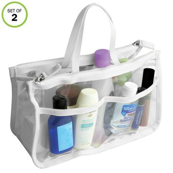 Evelots Clear Cosmetic Purse-Double Zipper Hand Pouch Bag In Bag Organizer-Set/2