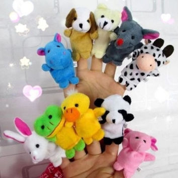 Best Selling 10Pcs Family Finger Puppets Cloth Doll Baby Educational Hand Cartoon Animals Toy = 1945937156