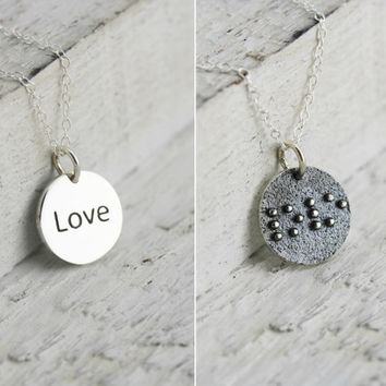Braille Love - Sterling Silver Love Braille Necklace - Braille Jewelry - Braille Gift for Her -Blind or Visually Impaired Jewelry -Love Gift