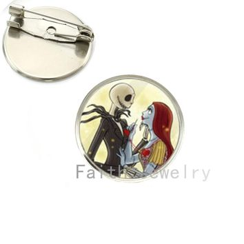 2016 Stylish festival jewelry Nightmare Before Christmas Brooches Jack Skellington brooch pins Silver Plated handmade gift NS094