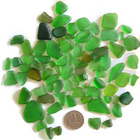 Over 80 Pcs. Assorted Green Sea Glass Surf Tumbled for Arts Crafts Mosaics Jewelry Design Home Garde Decor