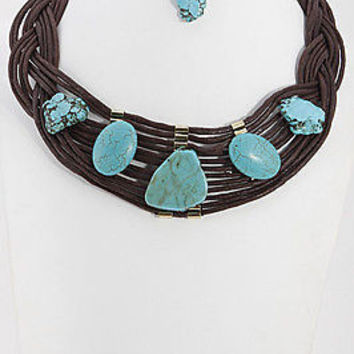"""18"""" brown turquoise layered cord bib collar choker necklace statement earrings"""