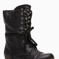 Black Faux leather Studs and Jewels Lace Up Combat Boot