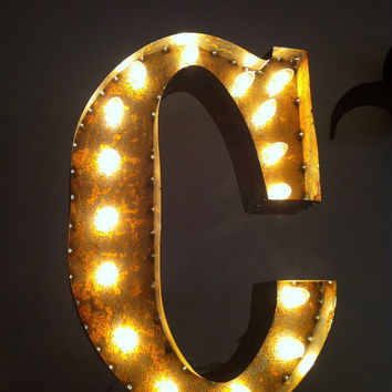 Vintage Marquee Lights Letter C by VintageMarqueeLights on Etsy