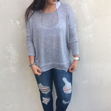 Got Back Sweater // Blue Grey // Pullover Sweater with Open Back