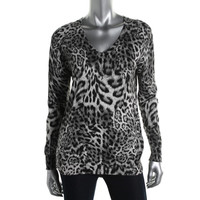 Michael Kors Womens Petites Knit Animal Print Pullover Sweater