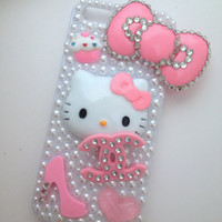 Pretty Pink Kitty Crystallised Bling iPhone 5 Protective Cell Phone Case Cover