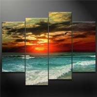 So Crazy Art® - Canvas Print Wall Art Painting for Home Decor,a Seagull Fly Across Colorful Sky Fantanty Green Sea Blue Beach Sunset Romantic Seascapes Waves Ocean Seascape 4 Pieces Panel Paintings Modern Giclee Stretched and Framed Artwork the Picture for