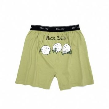 Hatley Nice Balls (Golf) Mens Boxers Color: Green Size: Medium