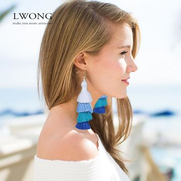 LWONG 2017 Summer Neon Tiered Long Tassel Earrings for Women 4 Layered Fringe Earrings Ombre Stacked Tassels Dangle Earrings
