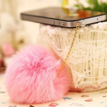 Dachshund Promotion Earphone Jack Plug 2016 New Rabbit Fur Dust Plug Fashion Mobile Phone 3.5mm Earphones Hole Cell Accessories