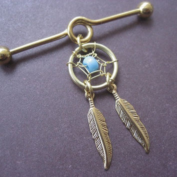 Industrial Piercing Barbell Dream Catcher Charm Gold Tone Turquoise Beaded Dreamcatcher 14 Gauge Bar 14g 14 G Ear Jewelry Earring