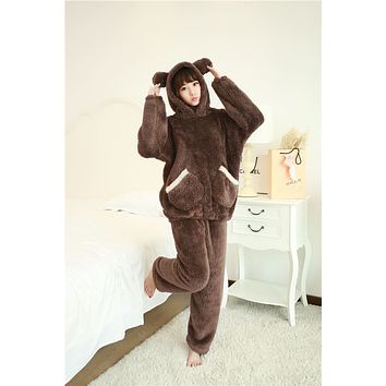 TIARAKA 2017 Winter Brand Flannel Pajamas Sets For Women Bear Sleepwear Set For Couple Coral Fleece Nightwear Female