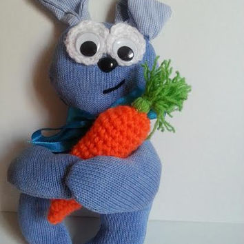 Sewn Rabbit, Stuffed Animal, Stuffed Rabbit, Handmade Toy, Stuffed Bunny