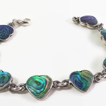 Abalone Inlay and Sterling Silver Heart Link Bracelet with Lobster Claw Clasp