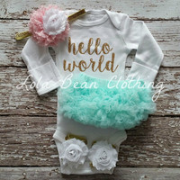 Baby Girl Take Home Outfit Newborn Baby Girl Hello World Onesuit Mint Bloomers Pink & White Headband Sandals Set