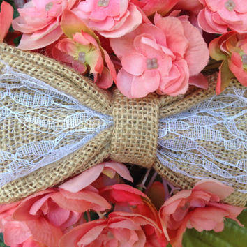 "5.5"" Burlap and Lace Rustic Hair Bow"