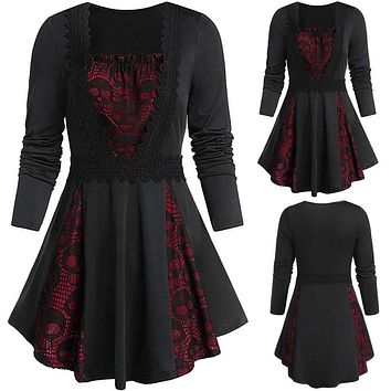 Wome Tops Plus Size Skull Lace Insert Long Sleeve