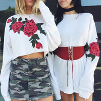 Embroidered flower long sleeve T-shirt