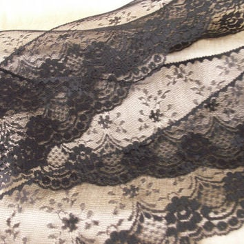 "6 YARDS Black Lace Trim 4 "" wide"
