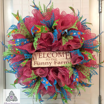Spring Welcome To The Funny Farm Fuchsia Burlap Jute Ruffle Deco Mesh Wreath