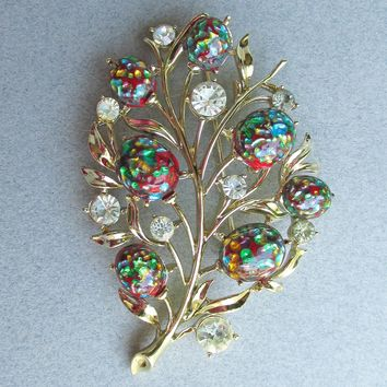 Signed CORO Vintage Rhinestone & Red Foil Harlequin Glass Cabochon Flower Bouquet Pin