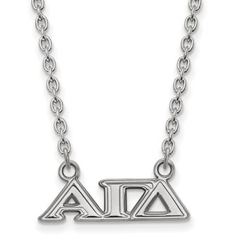 925 Rhodium Flashed Silver Alpha Gamma Delta Station Necklace: Size: 18