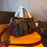 LV Louis Vuitton Women Leather Shoulder Bag Satchel Tote Handbag Shopping Leather Tote Crossbody Satchel Shoulder Bag