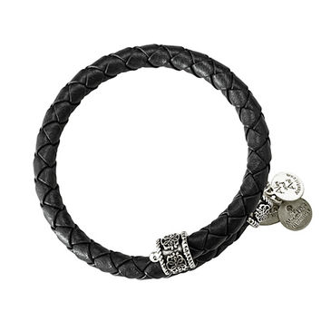 Alex and Ani Braided Leather Wrap Ebony - Rafaelian Silver