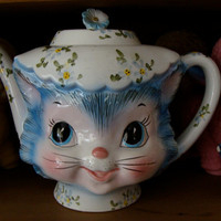 Antique Vintage Kitsch Original Miss Priss 1950s Kitty Tea Pot Lefton N0 18
