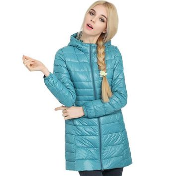 2017 Top Quality Brand Ladies Long Spring Autumn Overcoat Women Ultra Light 90% White Duck Down Coat With Bag ladies' Jackets
