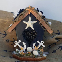 SUMMER SALE Nautical Decor, Navy Blue Beach House, Beautiful Nautical Birdhouse, Nautical Decorations,  Ocean Navy Nautical Gifts, Sea & Bea