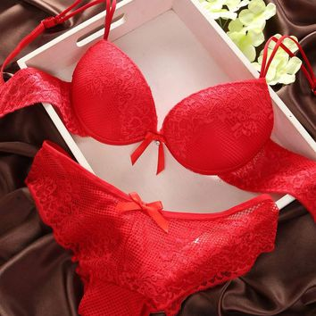 Underwear Women Bra Set Lingerie Set Luxurious Vintage Lace Embroidery Push Up Bra And Panty Set