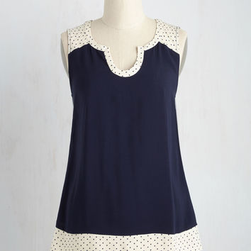 Notch so Fast! Top in Navy Dots | Mod Retro Vintage Short Sleeve Shirts | ModCloth.com