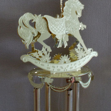 Vintage Engraved Brass Christmas Rocking Horse Wind Chime, Tree Ornament, Holiday Decor, Family, Gift, Traditional, Festive, Carousel Horse