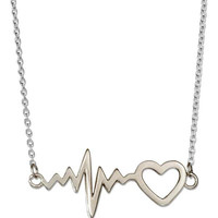 Sterling Silver Heart and Heartbeat Necklace