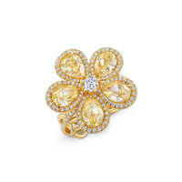 Rahaminov Diamonds 18K Gold Flower Ring with Fancy Intense Yellow Diamonds