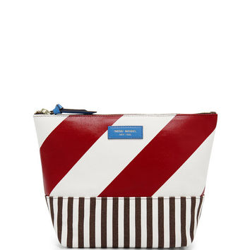 Striped Canvas Large Cosmetic Case