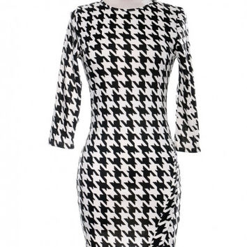 Asymmetrical Houndstooth Dress